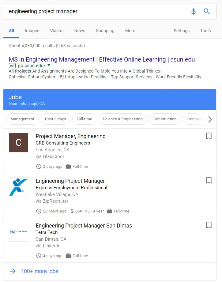 top 3 most relevant job listings in Google search - engineering project manager