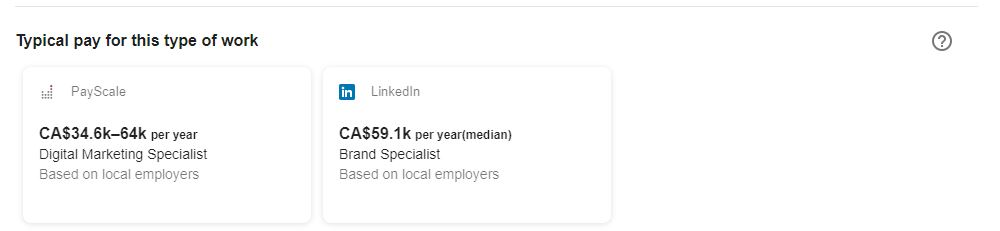 typical pay feature in google for jobs