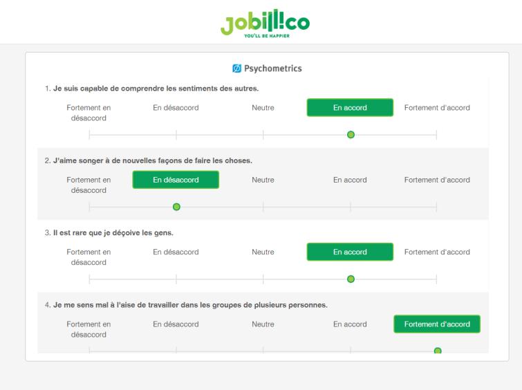 Exemple de test psychométrique de Jobillico