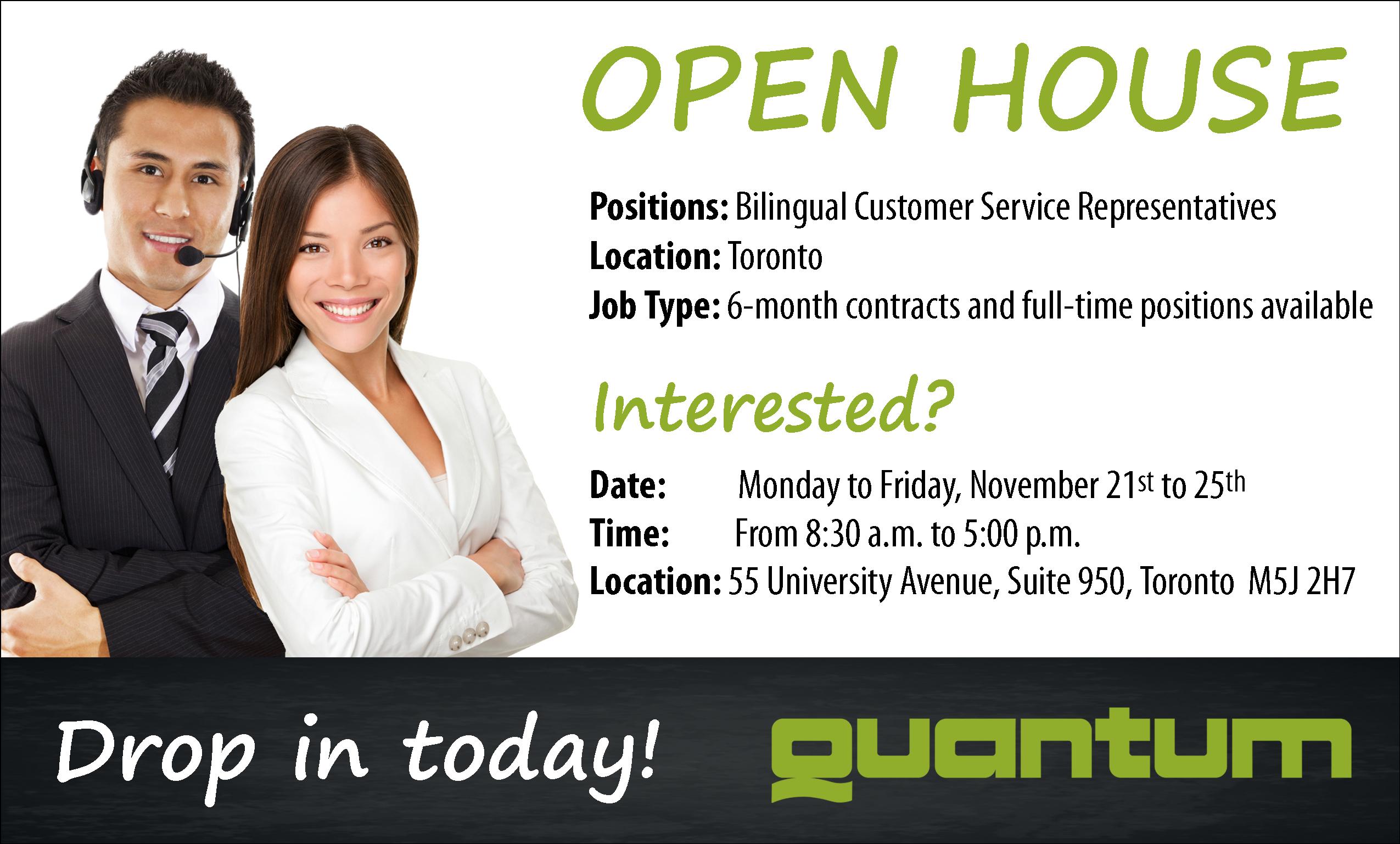 Event | OPEN HOUSE | Toronto | Quantum | jobillico com